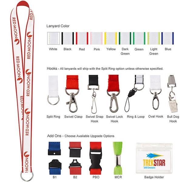 "3/4"" Polyester with Ribbon Lanyard"