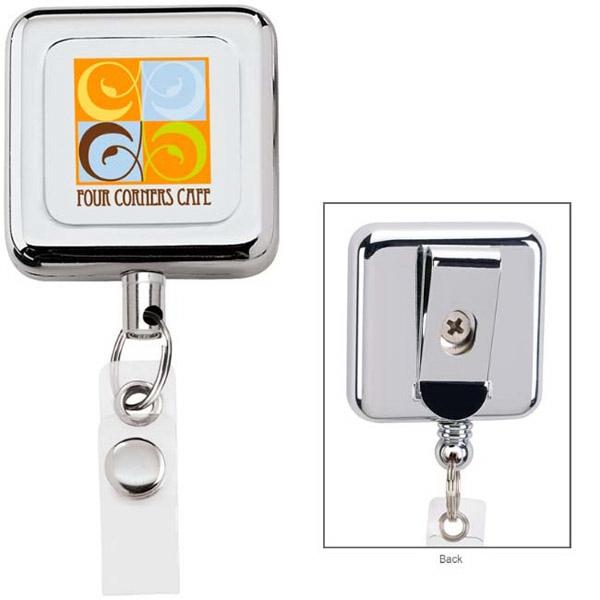 Square Metal Retractable Badge Holder