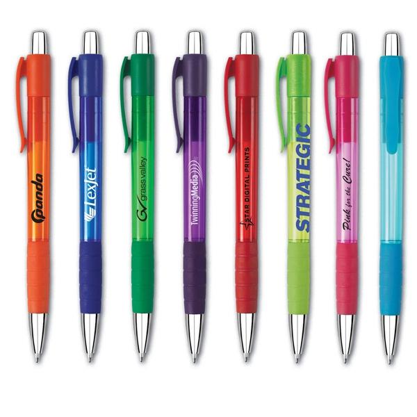 Viva (TM) Grip Pen - Orange - Click-action retractable ballpoint pen. Chrome-look trim and vibrant color choices.