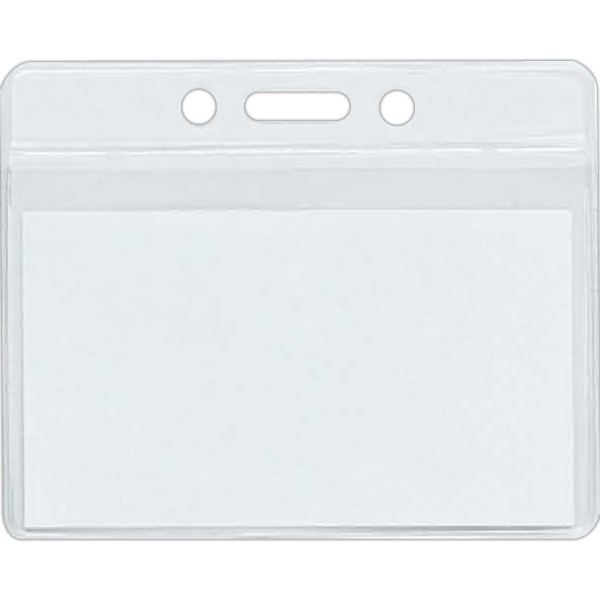 Small Clear Horizontal Badge Holder Includes Blank Inserts Photo