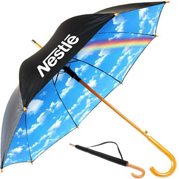 "Umbrella With Double Canopy 48"" Arc And Pushbutton Automatic Opening Photo"