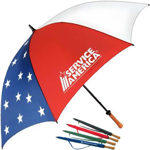 "Patriot Golf (tm) - Umbrella With Patriotic Design And Fiberglass Construction, 62"" Canopy Arc Photo"