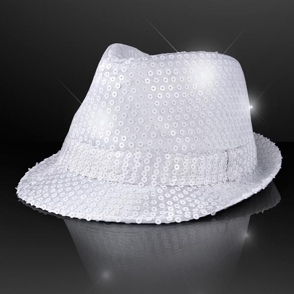 Flashing LED Sequin White Fedora Hat