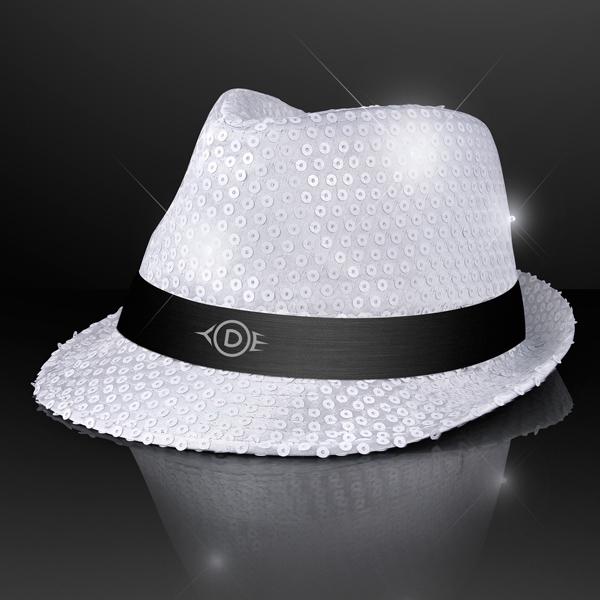 Sequin White Fedora Hats with Flashing LEDs