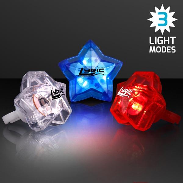 LED Assorted Red, White & Blue Star Bling Rings