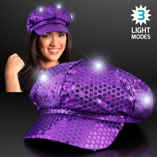 Sequin Purple LED Newsboy Cap Hats