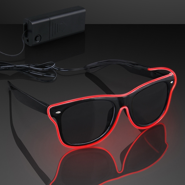 Light Up EL Wire Red Neon Sunglasses