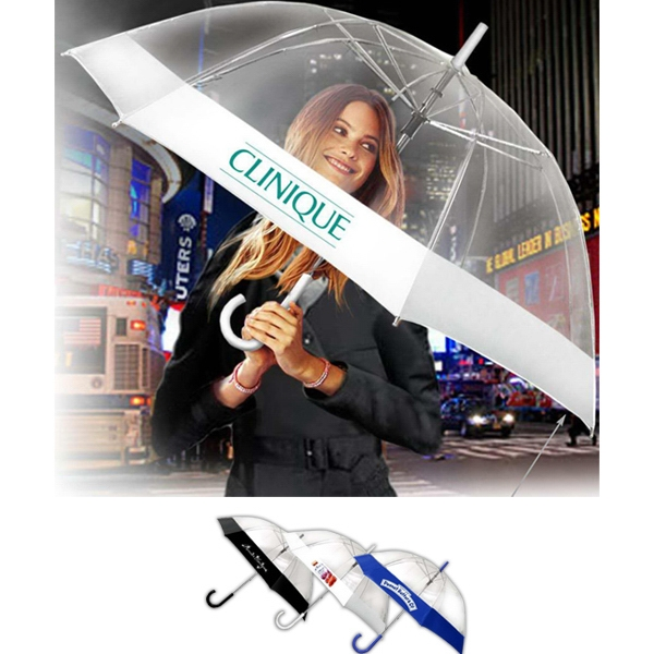 "Bubble Fashion (tm) - Clear Bell Shaped Canopy Umbrella With Fabric Border And Extra Large 54"" Arc Photo"