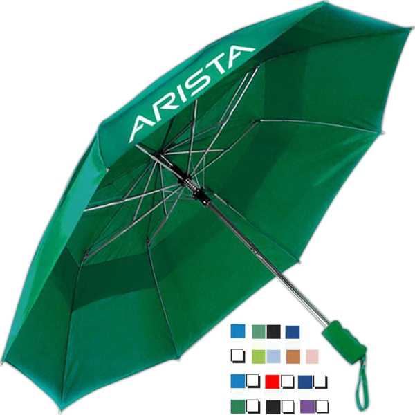 "Windproof - Vented Automatic Folding Umbrella With Round Metal Shaft, 42"" Arc Photo"