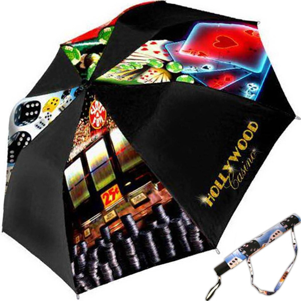 "Casino - Folding Umbrella With Full-color Casino Theme On 4 Panels, 42"" Arc Photo"
