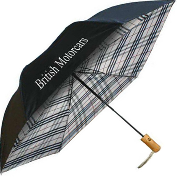 "Umbrella With Black Outer Canopy With Plaid Undercover, 46"" Arc Photo"