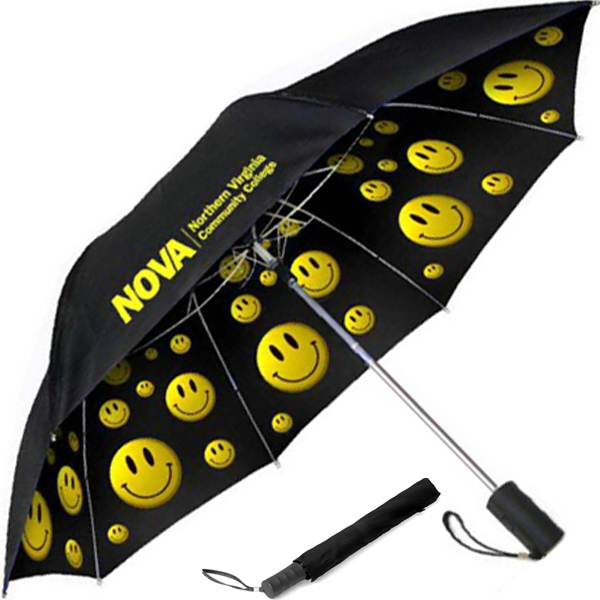 "Smiley - Folding Umbrella With Generous 42"" Canopy Arc, Auto - Open Folding Photo"