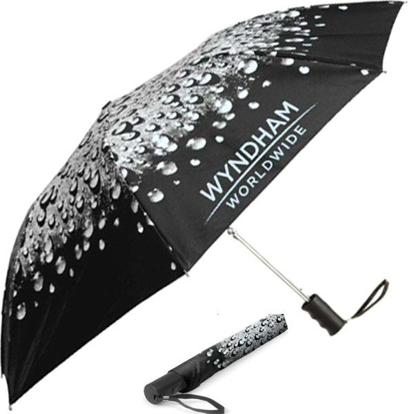 "Under The Raindrops (tm) - Folding Umbrella With Generous 42"" Canopy Arc Photo"
