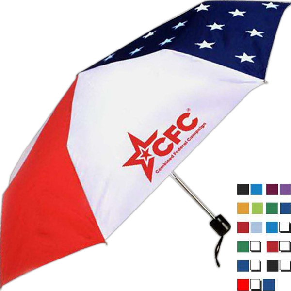 "- Folding Umbrella With Patriot Design And Manual Opening, 41"" Canopy Arc Photo"