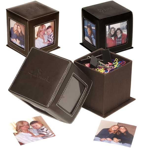 "Lexington Leeman New York Collection - Leather Photo Cube, Holds Four 3"" X 3"" Photos, Slide Off Top To Access Paper Clips Photo"