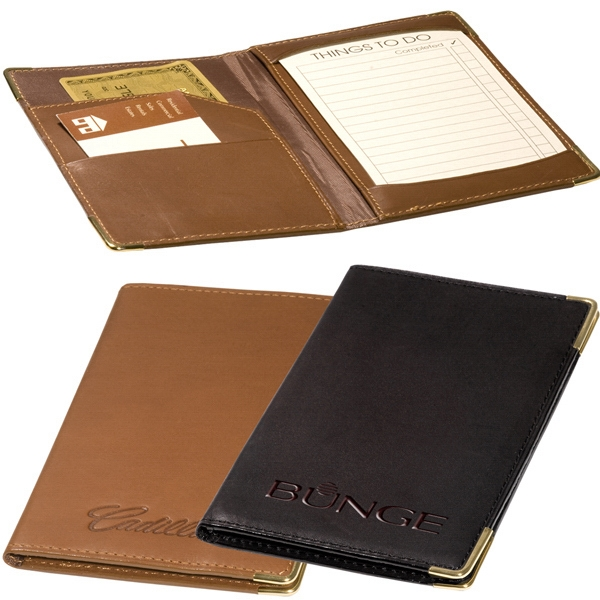 Riverside Leeman New York Collection - Sueded Full Grain Leather Jotter Wallet With Gold-tone Corners To Accent. Closeout Photo