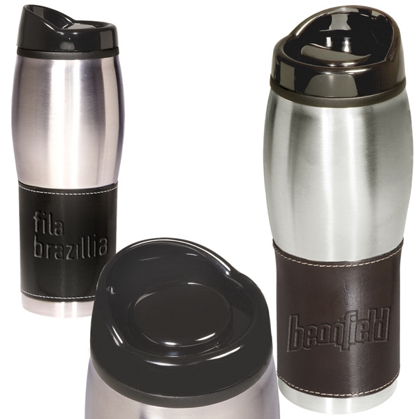 Leeman New York Collection - Leather-wrapped Tumbler; Insulated Stainless Steel With Black Plastic Liner, 16 Oz Photo