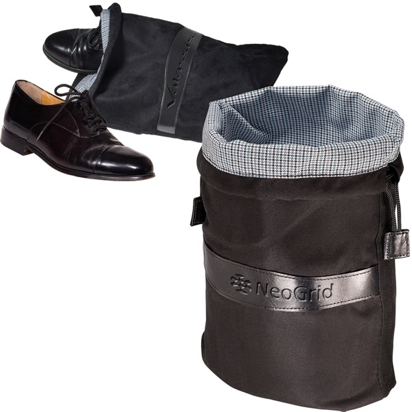 Montauk Leeman New York Collection - Sueded Drawstring Shoe Bag Trimmed With Leather Photo