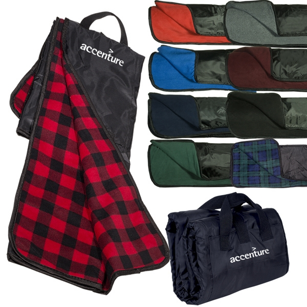 Fleece Nylon Picnic Blanket, Features Attached Carry Handles And Velcro Pockets Photo