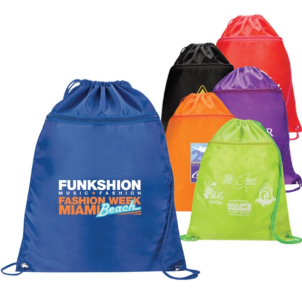 Neon Storm - Nylon Drawstring Cinch Bag With Front Zipper Pocket Photo