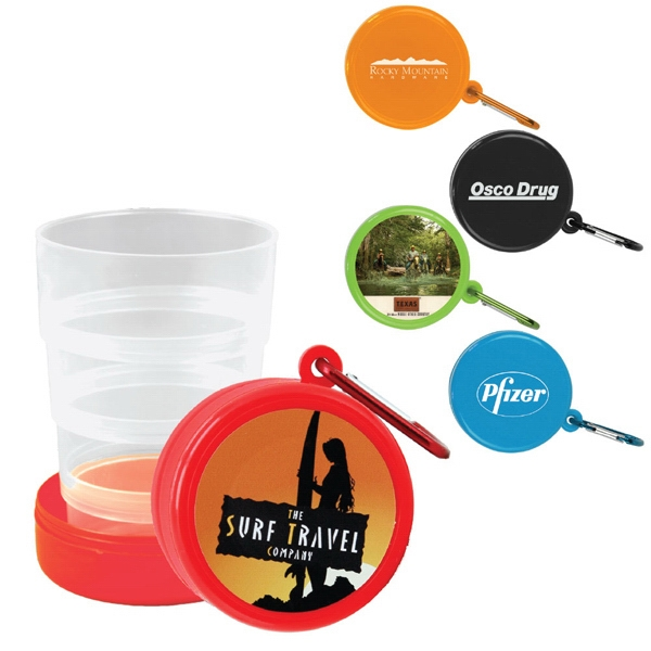 4-tier Expandable Cup With A Pop-up Feature, Carabiner, And Built-in Pill Box. 6 Oz Photo