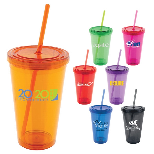 Lumina (tm) - Acrylic 16 Oz. Tumbler With Screw On Lid And Matching Colored Straw Photo