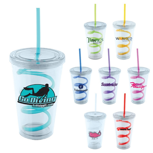 Swirl - Bpa Free 16 Oz. Double Wall Acrylic Tumbler With Swirly Straw Photo