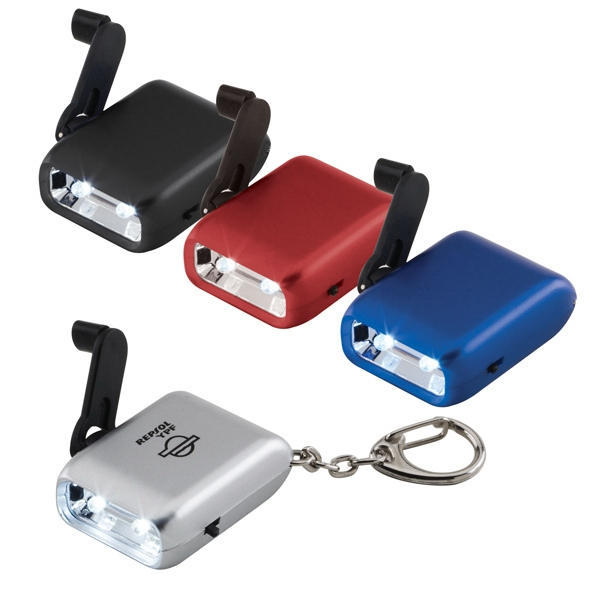 Hand Crank Flashlight Keychain. You Never Need A Battery Photo
