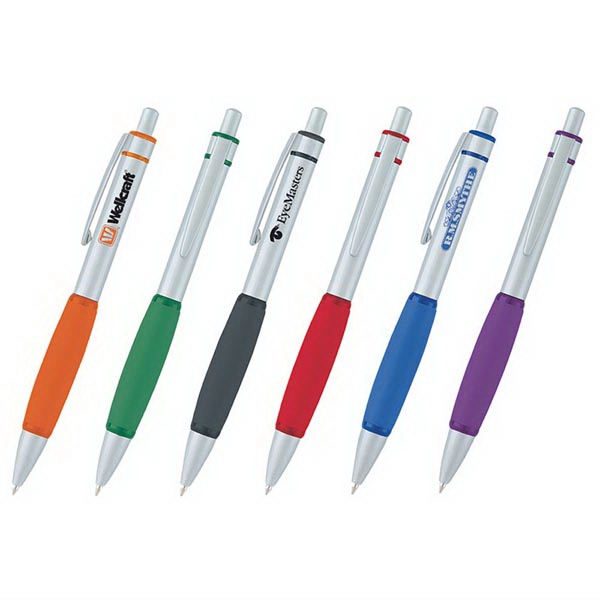 Galleo - Retractable Ballpoint Pen With Translucent Rings And Rubber Grip Photo