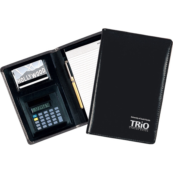 "Reflections - Junior Padfolio Made Of Simulated Leather With Calculator And 5"" X 8"" Writing Pad Photo"