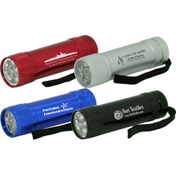 Metal Led Flashlight With 9 Bulbs And Easy To Use Push On Button Photo