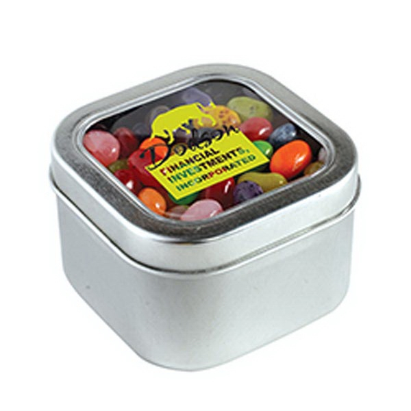 Jelly Bellys - 1 Color in Large Square Window Tin - Large Square Window Tins Filled w/ Jelly Belly -Single Color