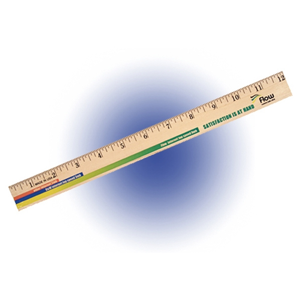 """12"""" Clear Lacquer Wood Ruler, Full Color Digital"""