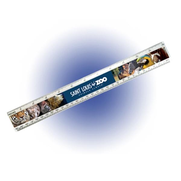 "12"" Beveled Plastic Ruler, Full Color Digital"