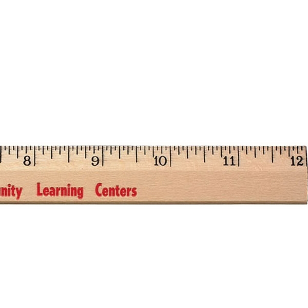 """12"""" Clear Lacquer Beveled Wood Ruler - English Scale"""