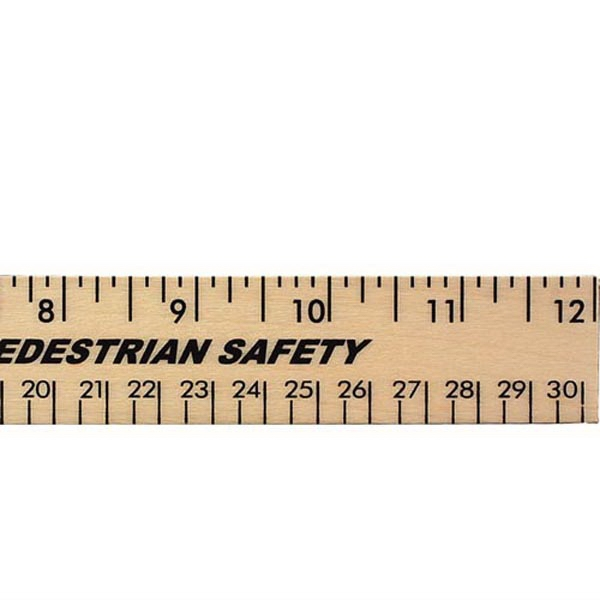 """12"""" Clear Lacquer Wood Ruler - English and Metric Scale"""