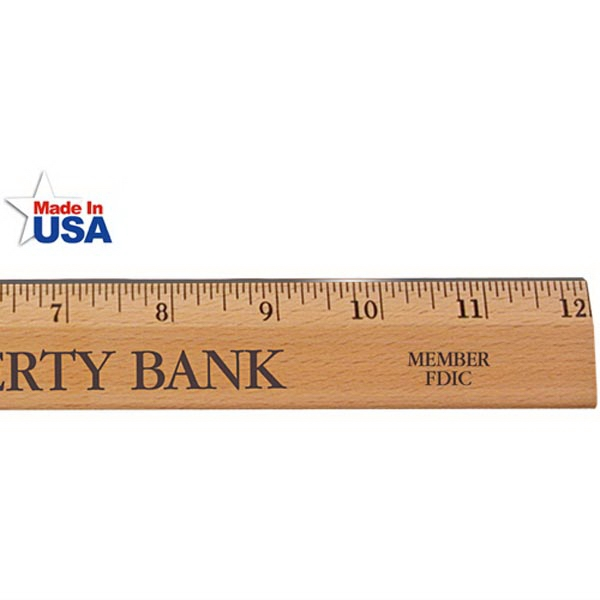 """12"""" Executive Office Ruler, Lacquer Finish with Metal Edge"""