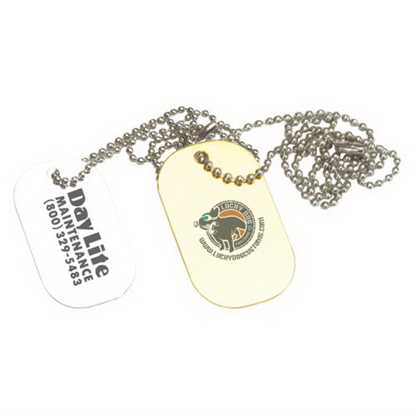 "Aluminum dog tag with 6"" beaded chain - Clearance"
