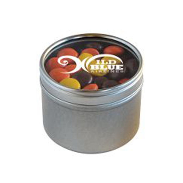 Reeces Pieces in Small Round Window Tin - Small Round Window Tins Filled With Reeces Pieces