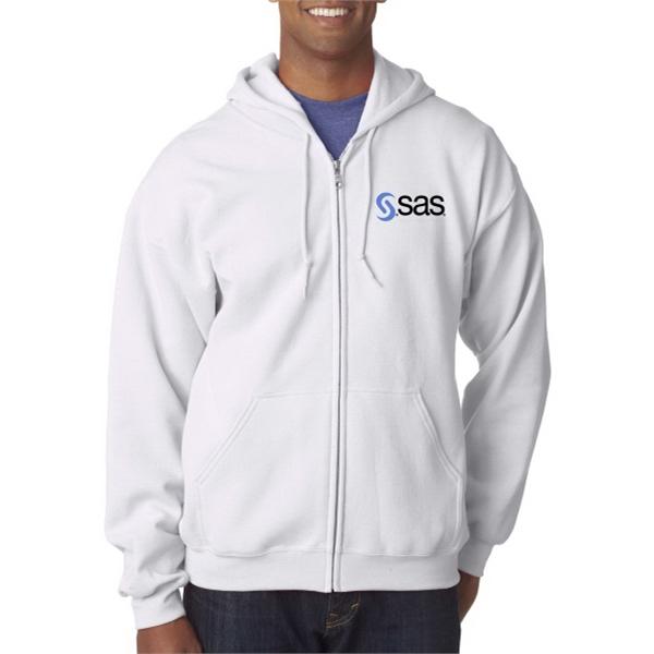 Gildan 18600 White Full-Zip Hooded Sweatshirt- Rush