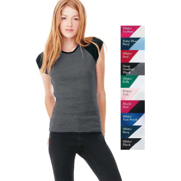 Bella + Canvas Ladies Baby Rib Cap Sleeve Raglan T-Shirt