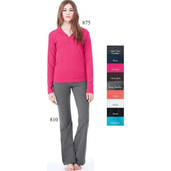 Bella Ladies' Cotton/Spandex 1/2 zip Hooded Pullover
