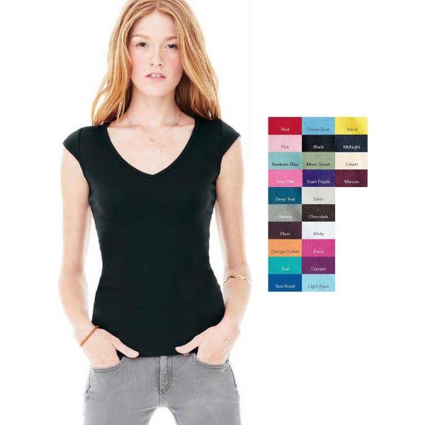 Bella Ladies' Sheer Mini Rib V-Neck T-Shirt