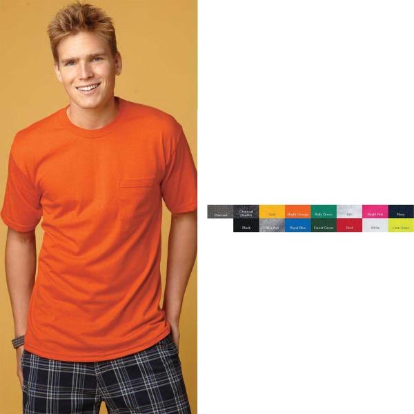 Bayside USA Made 50/50 Short Sleeve T-shirt with a pocket