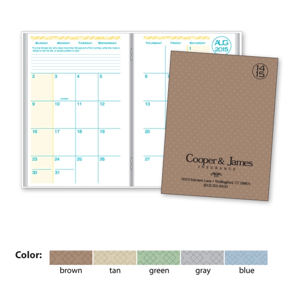 Academic Desk Monthly Planner with Printed Weave Cover