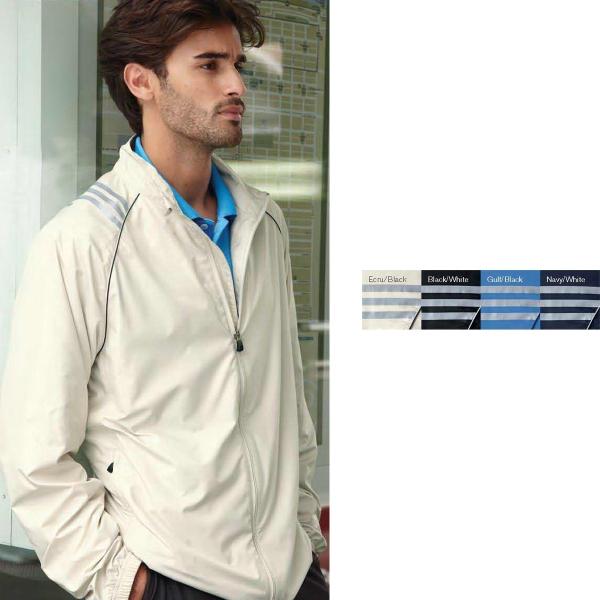 Adidas Climaproof (R) Wind Three-Stripe Full-Zip Jacket