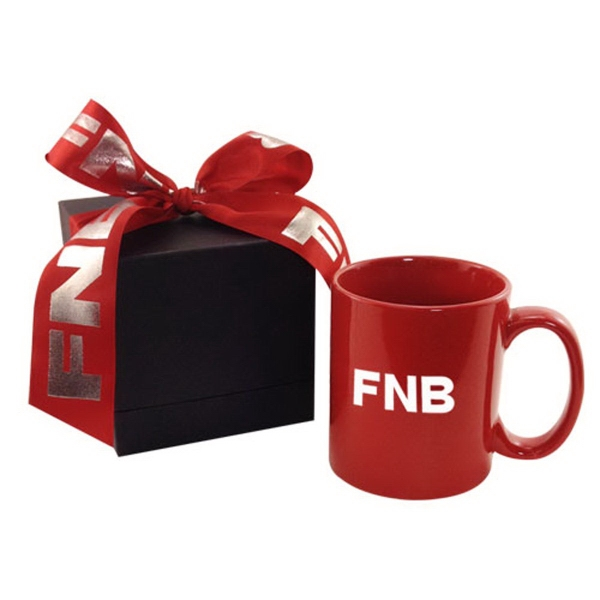 11oz mug in deluxe black gift box with ribbon