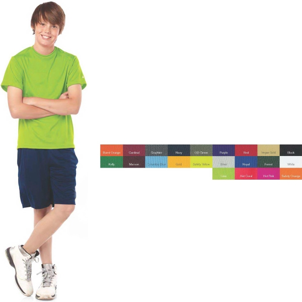 Badger Youth B-Dry Core T-Shirt with Sport Shoulders