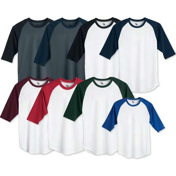 Badger Youth B-Dry Core 3/4 Sleeve Baseball T-shirt