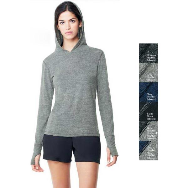 ALO (TM) ladies triblend long sleeve hooded pullover